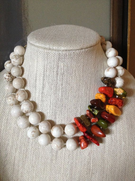 Orange and White Statement Necklace by ZancsJulz