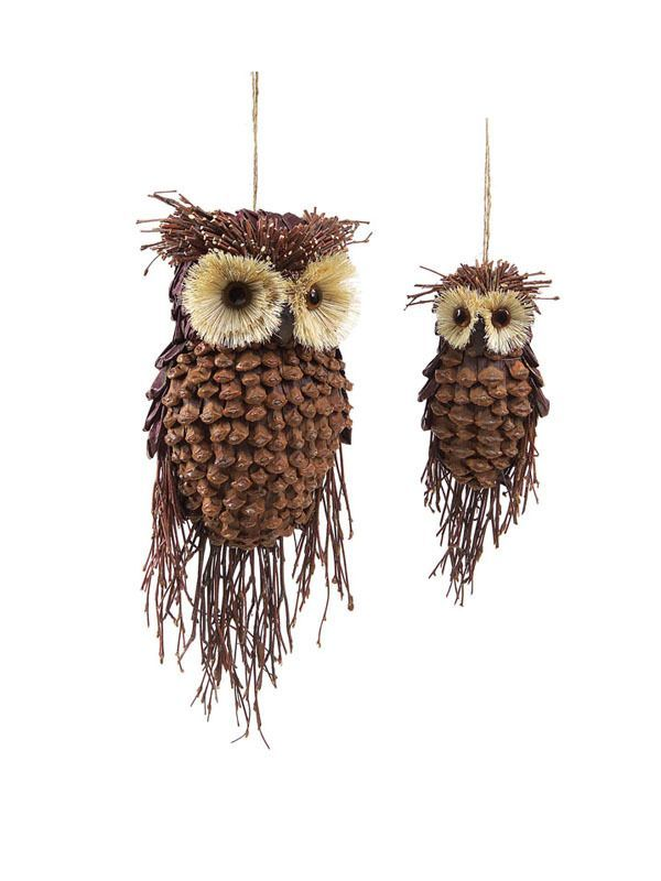 Rustic owl pine cone ornament diy