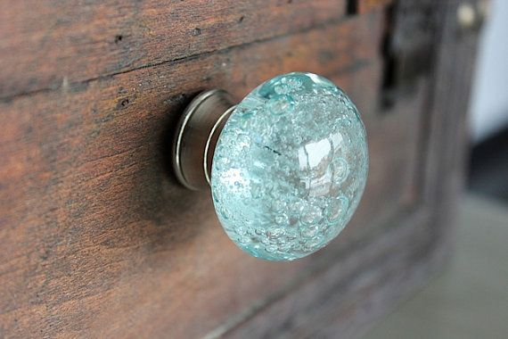 Ocean Bubbles Glass Drawer Knob / Fixture in Light Blue by DaRosa, $6.75