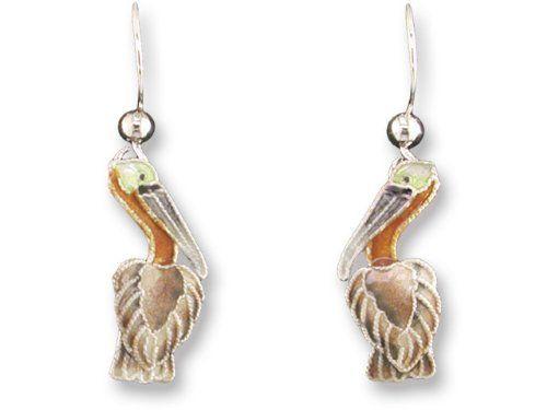 Little Pelican Sterling Silver & Enamel Earrings Zarah. $23.99