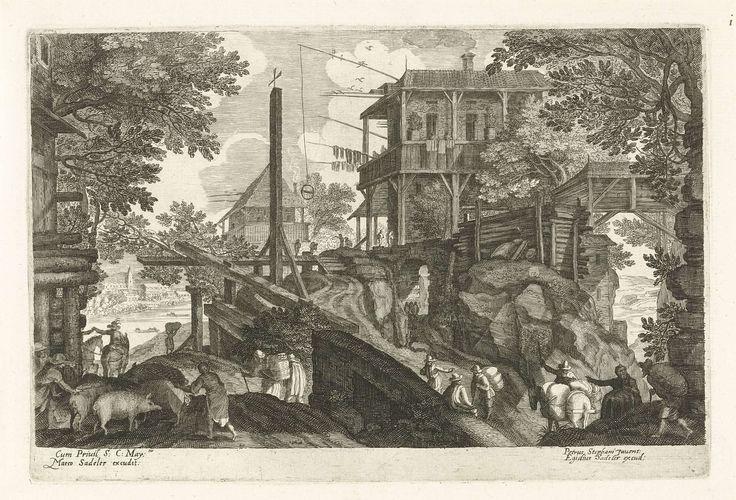 Herberg met reizigers, Aegidius Sadeler, 1597 - ca. 1629