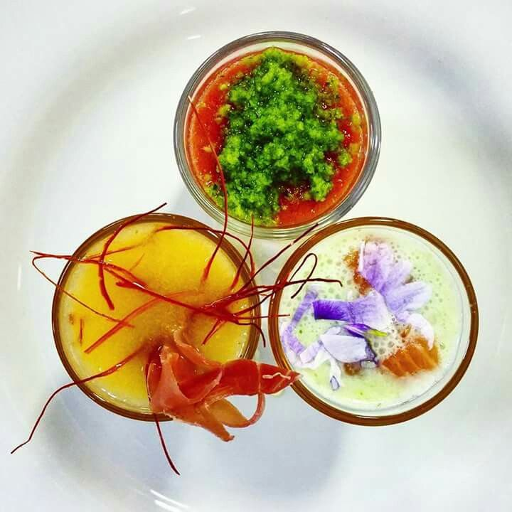 Trio of gazpacho fingerfood shots