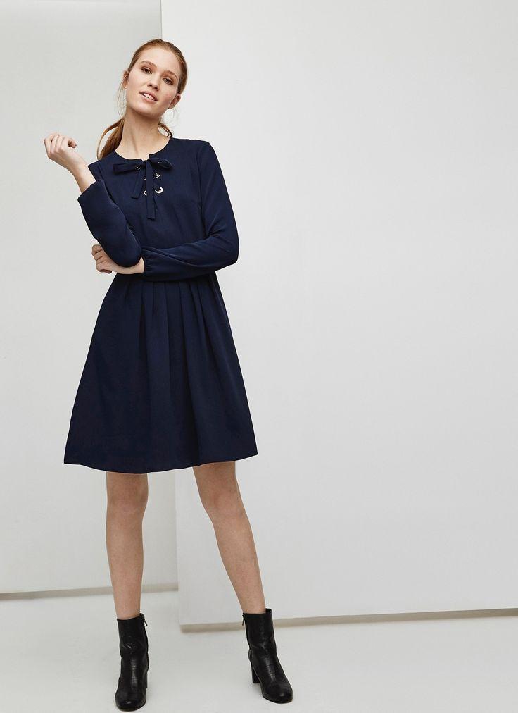 Vestido evasé azul intenso - Vestidos | Adolfo Dominguez shop online