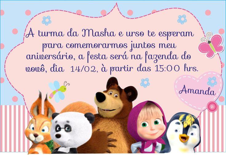 CONVITE DIGITAL MASHA E O URSO.