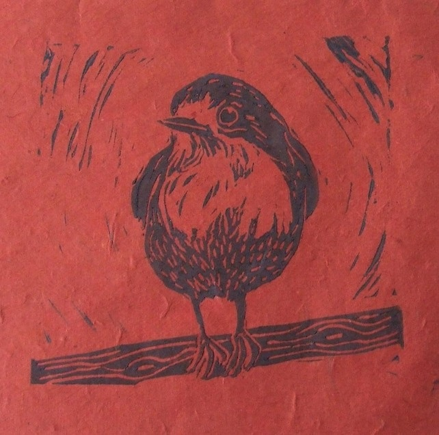 Red Robin Lino Cut Print