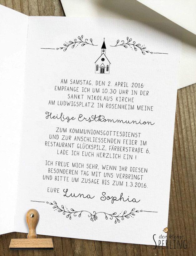 *Ein schöner STEMPEL für EURE Kommunionseinladung!*  Im stilvollen Vintage-Look!  STEMPELT eure Kommunionseinladungen einfach selber! Erfreut & beeindruckt eure Kommunionsgäste mit dem ganz… – Silke Zenner