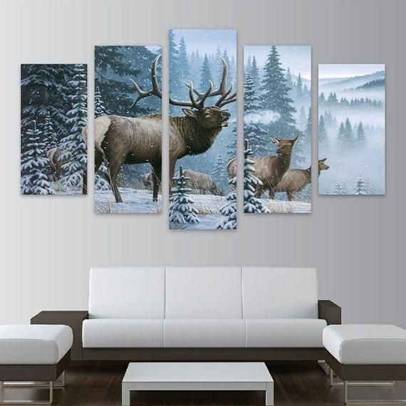 Elk Winter Wildlife Framed Or Unframed 5 Piece Five Panel Etsy Wall Canvas Canvas Wall Art Wall Art Pictures