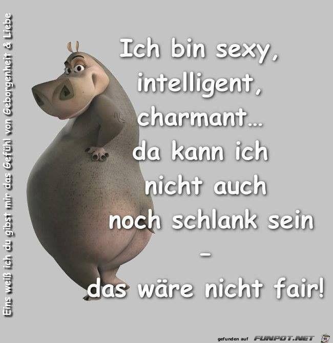 Ich bin sexy, intelligent, charmant..... Da kann ich nicht noch schlank sein ----- das wäre nicht fair!