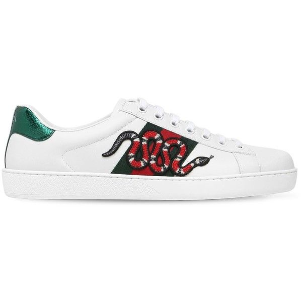 Gucci Men Snake New Ace Leather Sneakers W/ Ayers ($690) ❤ liked on Polyvore featuring men's fashion, men's shoes, men's sneakers, white, mens rubber sole shoes, mens white leather shoes, mens white leather sneakers, gucci mens shoes and gucci mens sneakers