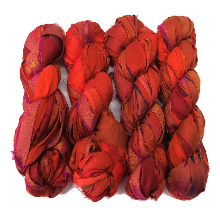 New! Premium Iridescent Sari Silk Ribbon yarn , 100g (50 yards) color Burnt Orange