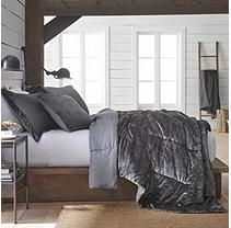 Vellux Plush/Microfiber Grey Comforter Set - Full/Queen