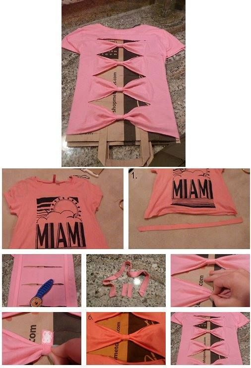 Idea : Bow Back Tee. This is the basic idea - this idea could be transformed in a lot of ways. Idea : Using a fashion knit top with an underlay of silk, chiffon, georgette, etc.
