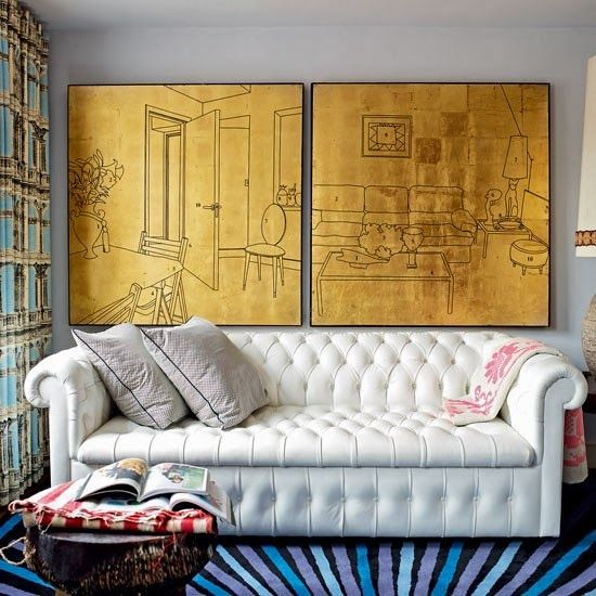 this plain leather sofa with multicoloured, bright and patterned cushions and a lime green wall - got it all planned