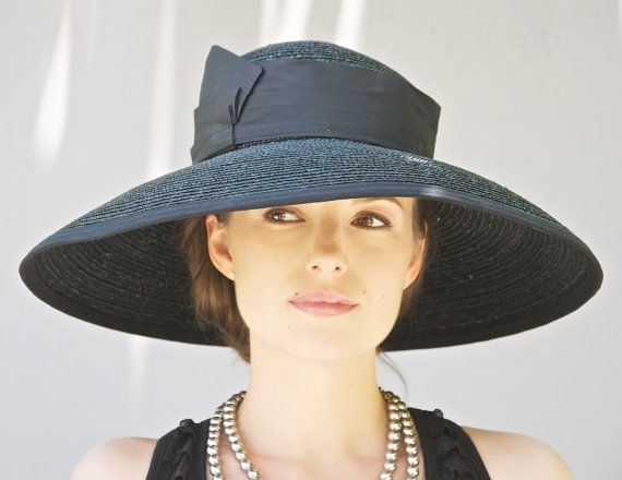 Black Wide Brim Hat. Audrey Hat. Kentucky Derby Hat. Wedding Hat ... 4398818dc2e
