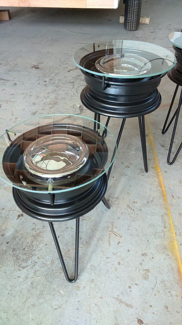 Repurposed BMX Rims Into Coffee Tables
