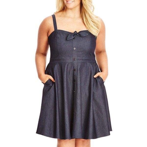 City Chic 'Sweet Denim' Fit & Flare Dress ($99) ❤ liked on Polyvore featuring dresses, blue indigo, plus size, plus size sundresses, womens plus size sundresses, vintage sundress, blue dress and blue denim dress