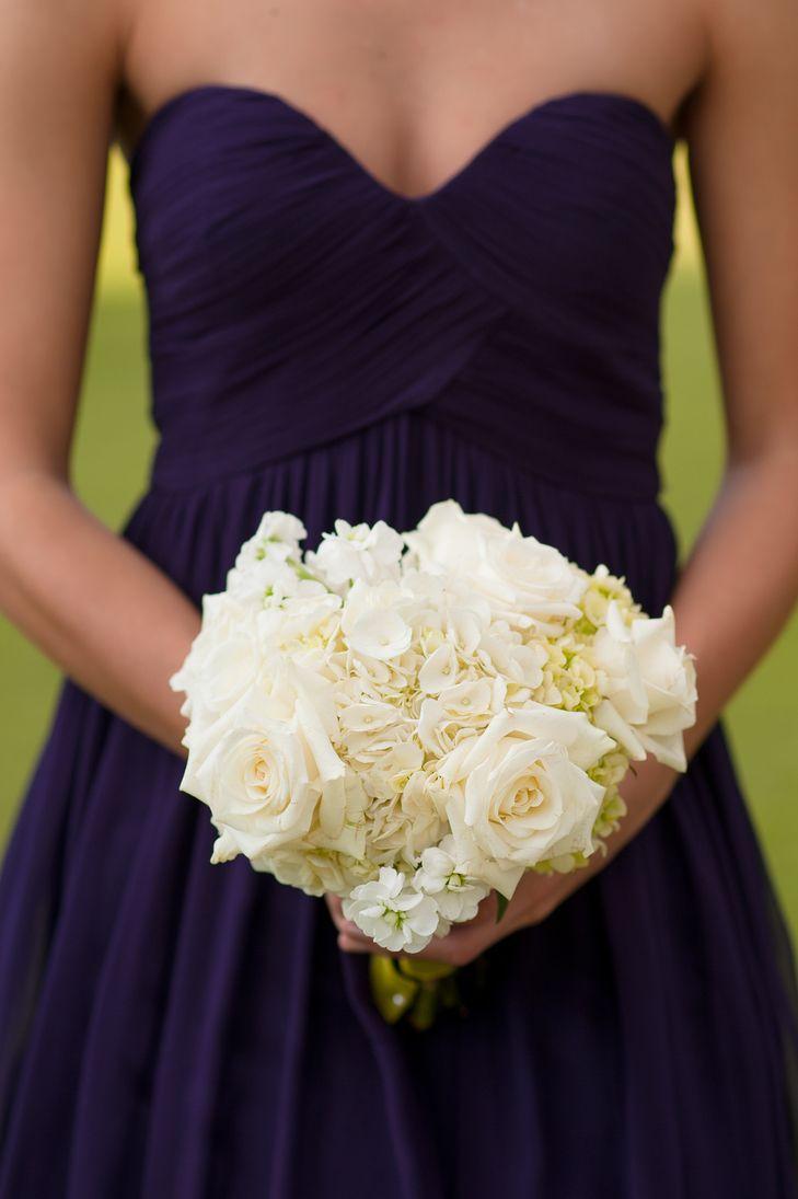 White rose and hydrangea bridesmaid bouquet