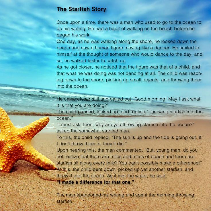 #BabyIncPick | The Starfish Story #InspirationOfTheDay   http://www.thebabyinc.com/#!InspirationOfTheDay-The-Starfish-Story/cmbz/5675f8090cf28854b38cf422