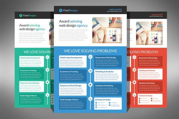 Flat Design Agency Flyer Template | Flyer Template, Flat Design
