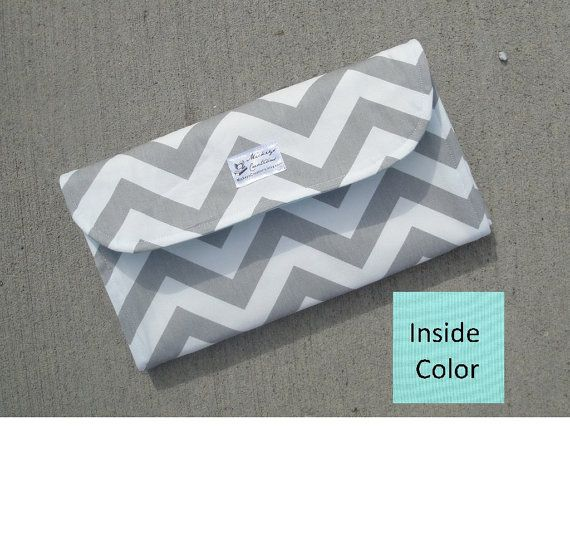Gray Chevron Diaper Clutch with Changing Pad - Gender Neutral - Grey - Chevron Diaper Clutch - Gray - Baby Shower Gift - Boy - Girl - Aqua