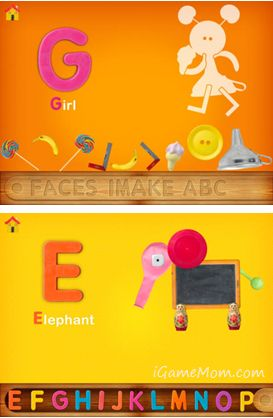 Faces iMake ABC is a creative app teaching kids letters with arts from everyday objects. Kids learn letters, shapes, and appreciation of daily life. #kidsapps #artapps