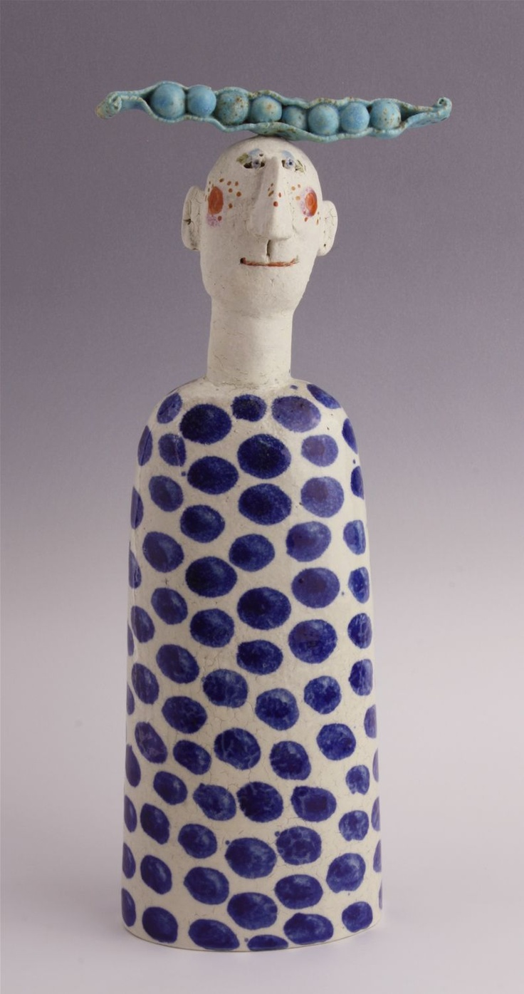 Pea Pod Head by Jane Muir | Ceramic | Sculpture | The Bowie Gallery