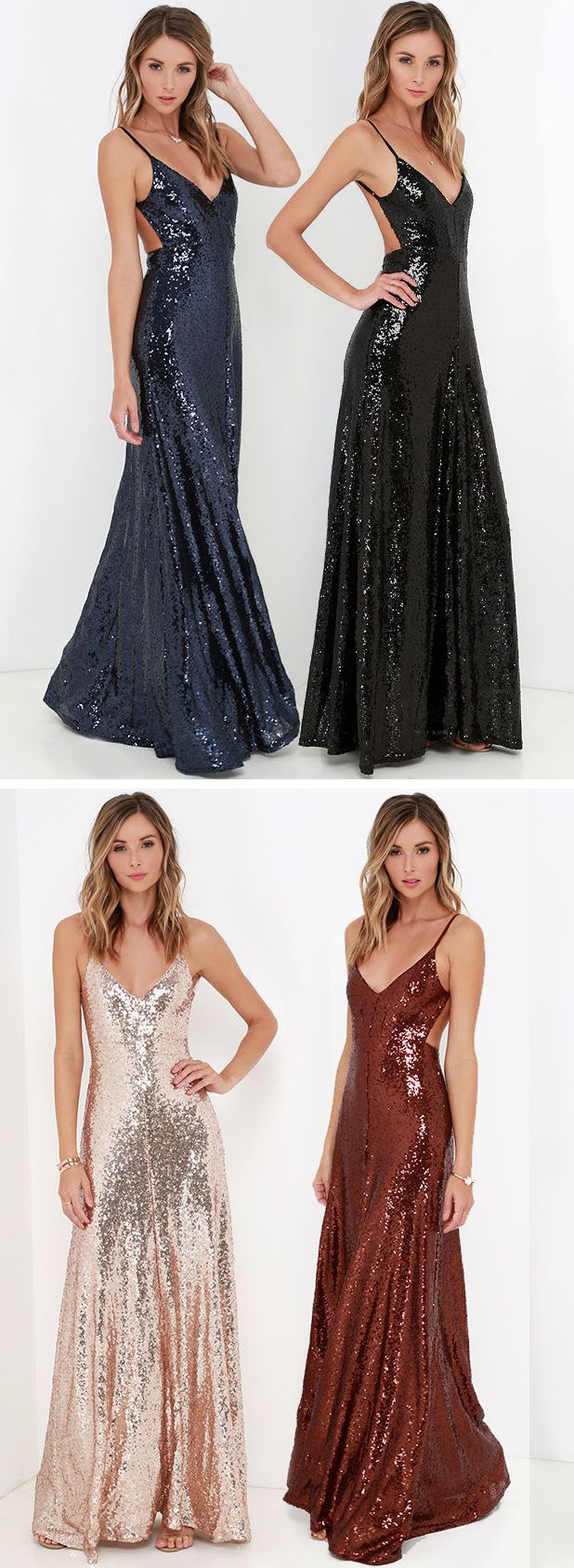 A triangle bodice is packed with elegant appeal thanks to thousands of shimmering sequins, while spaghetti straps frame a sultry open back. #lovelulus