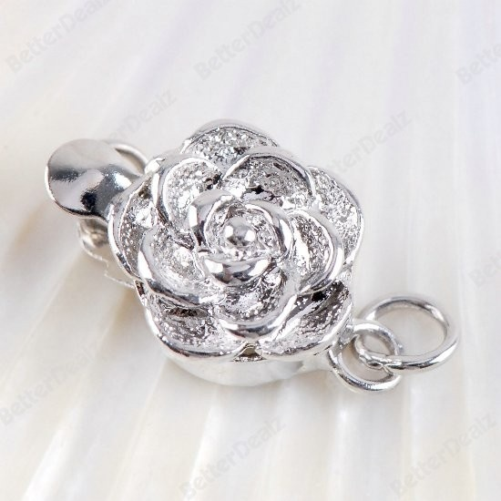 5set clasp silvertone carved flower beads finding