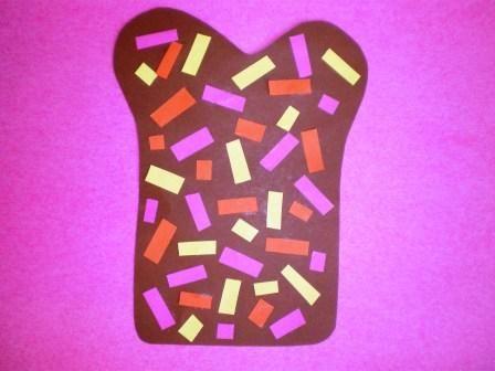Eet smakelijk: Boterham met hagelslag knutselen.Leuk om te knutselen met de kindjes zo stimuleren ze de fijne motoriek en leren ze verschillende soorten voeding kennen.
