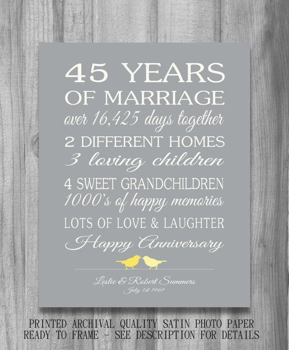 45th Wedding Anniversary Gift Customized Personalized Love