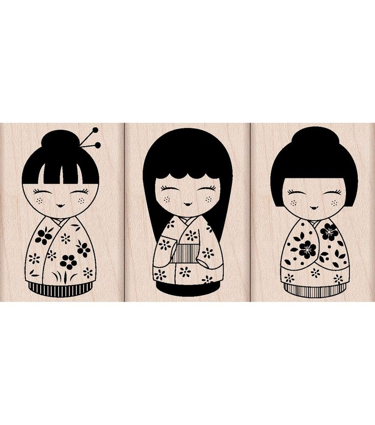 Hero Arts Mounted Rubber Stamps-Three Japanese Dolls
