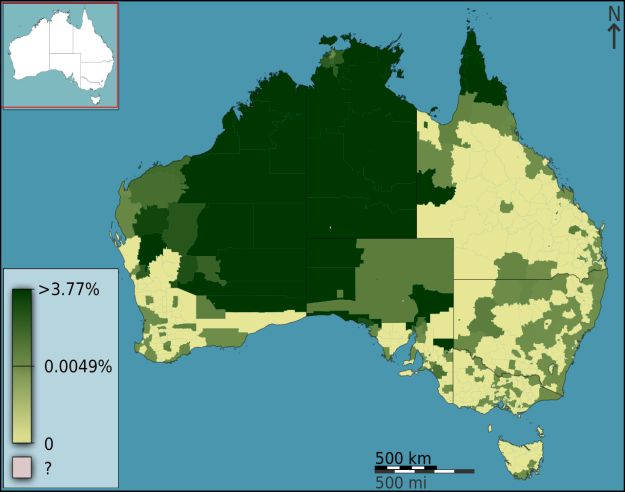 This map shows the percentage of people who speak an Indigenous language at home in each area of Australia today.   29 Maps Of Australia That Will Kinda Blow Your Mind