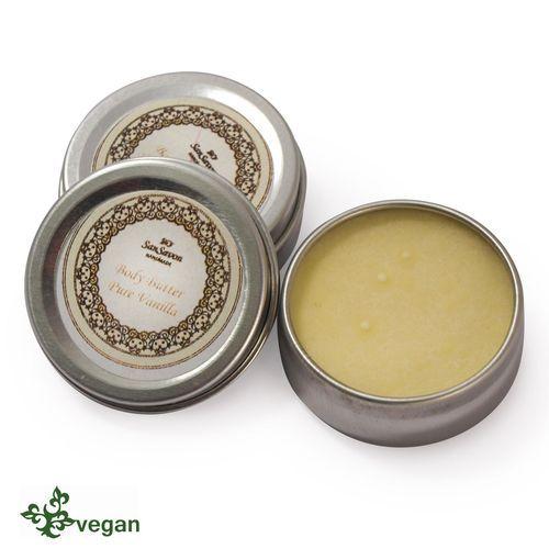 Body Butter Pure Vanilla - allergenfreie Komposition aus Vanille mit pflegender Kakaobutter und Bio-Jojobaöl.