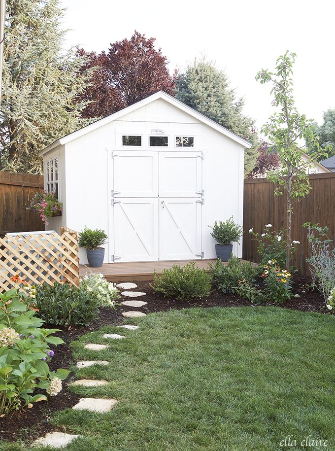 Stepping stones and landscaping around the shed... Build a smallish porch on front of our shed.