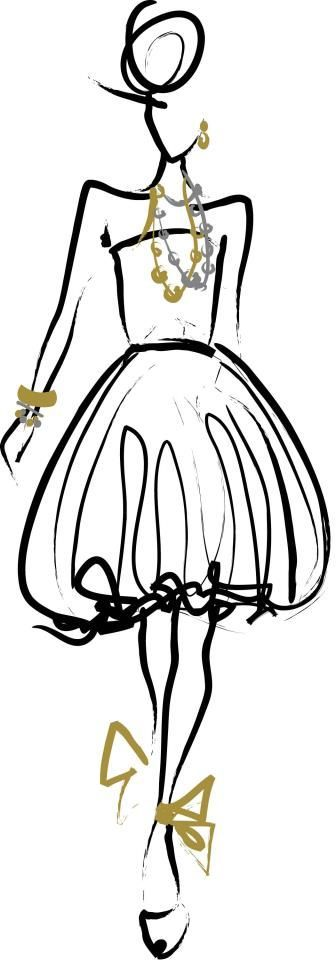 Line fashion drawing with silver & gold