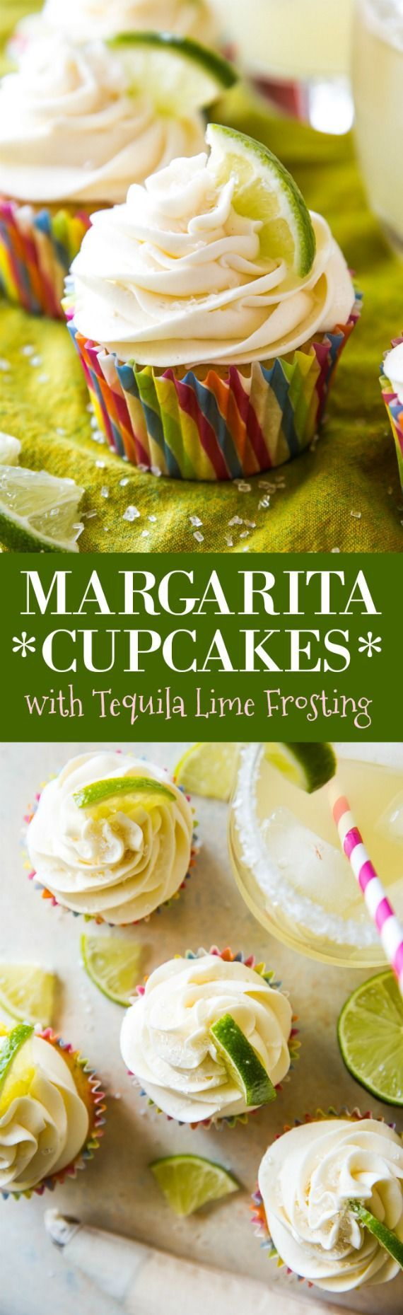 Margarita cupcakes begin with a simple sweet lime cupcake base and are topped with fluffy tequila lime frosting! Great for a Cinco de Mayo party.