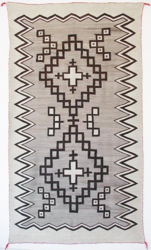 Natural textile with crosses c 1920