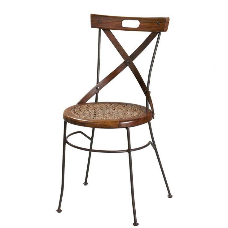 Sheesham-houten en smeedijzeren stoel met gekruiste vorm Lubéron