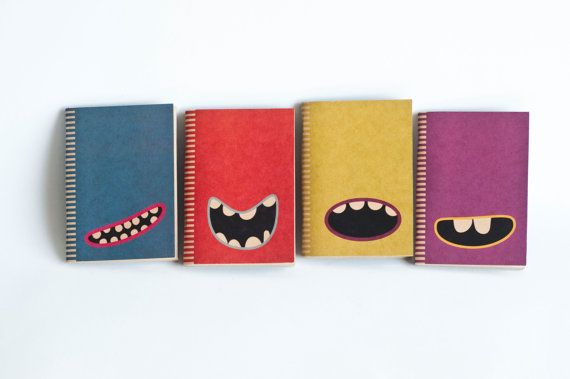 Kraft Paper & Saddled Stitched Notebooks - Blue Monster. $13.50, via Etsy.