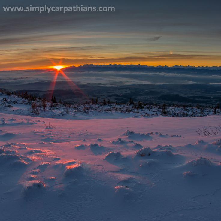 Sunrise on the top of Babia Góra.