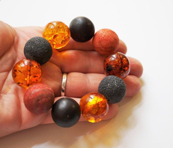 Handmade  Amber red and black coral Bracelet
