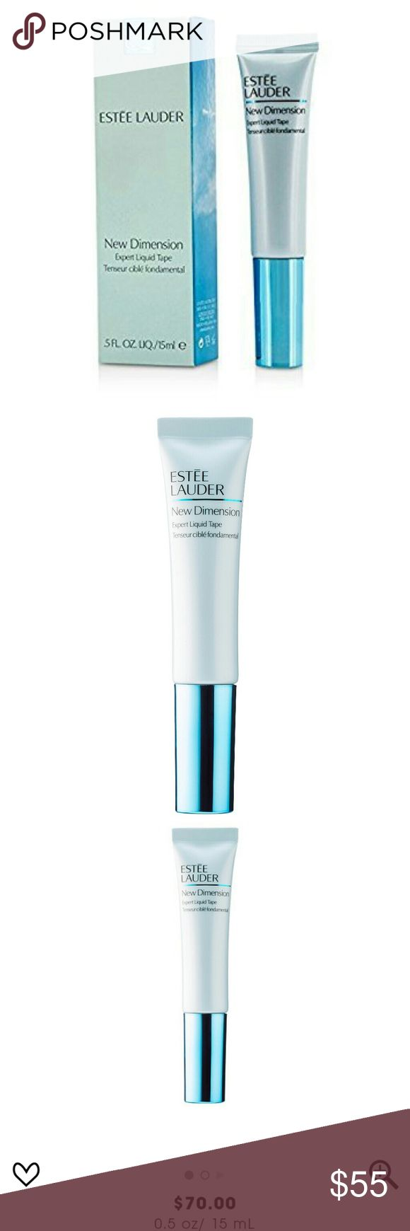Estee Lauder New Dimensions Liquid Tape Brand new and sealed!  0.05 OZ  This transforming, precision-accurate treatment with fast-acting polymers targets and helps give a tighter feel to key facial contours. Over time, its powerful concentration of pro-collagen technology helps firm, tone, and give a more sculpted, lifted look around your eyes. Skin will look more radiant and more defined—so that every angle becomes your best angle. Estee Lauder Makeup