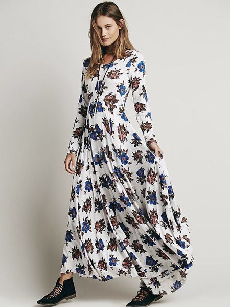 e458e7d6cd Boho Long Sleeve High Split Printed Maxi Dress in 2019 | Spring Collection  | Vintage Dresses | Dresses, Floral print maxi dress, White maxi dresses