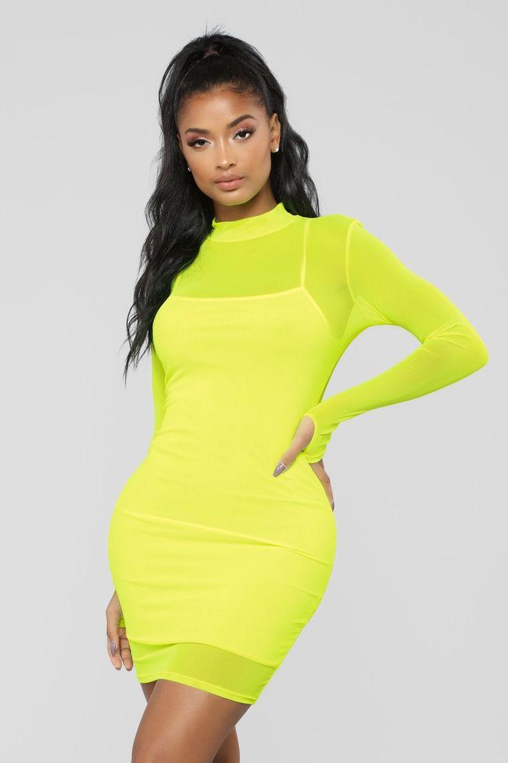 A Beautiful Mesh Mini Dress Neon Yellow Neon outfits