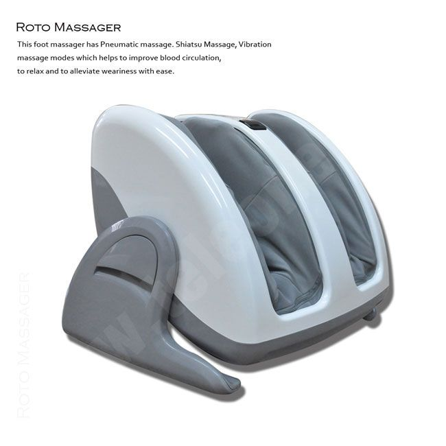 Roto Leg Massager - This Roto Leg Massager has Pneumatic massage. Shiatsu Massage, Vibration massage modes which helps to improve blood circulation, to relax and to alleviate weariness with ease. The massager adjustable up to 70 degrees backward, so you can massage both legs according to your favorite angle. And massage your leg and calf separately.