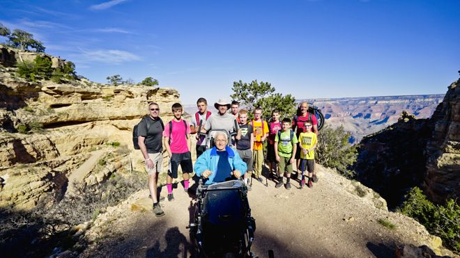 """Next time your kids are complaining """"It's too hard"""" show them this story. These 8 kids carried their paralysed grandfather on a hike down the Grand Canyon and back up again. Respect. http://www.suitcasesandstrollers.com/interviews/view/hiking-grand-canyon-with-kids-wheelchair?l=all #GoogleUs #suitcasesandstrollers #travel #travelwithkids #familytravel #familyholidays #familyvacations #hiking #wheelchairs"""