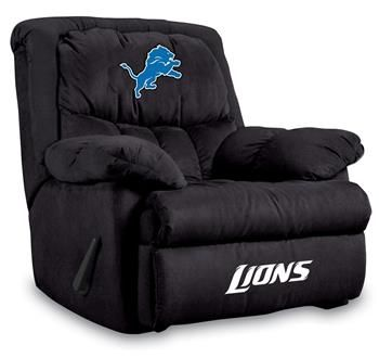 Detroit Lions Home Team Recliner at www.SportsFansPlus.com pretty cool but hubby already bought me my lazy boy for life:(