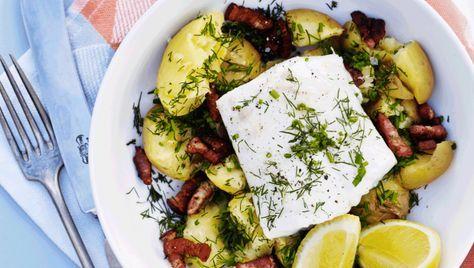 Madplan for uge 29: Ugens torsdagsopskrift er bagt torsk og maste kartofler med bacon. Få opskriften her