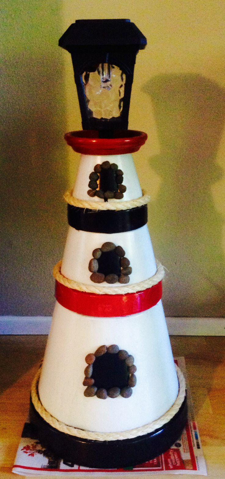 Diy make a clay pot lighthouse diy craft projects - Terra Cotta Pot Lighthouse