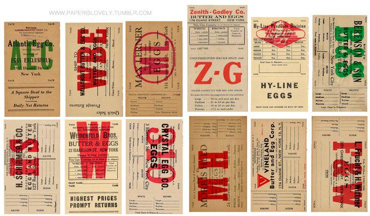 vintage egg crate labels